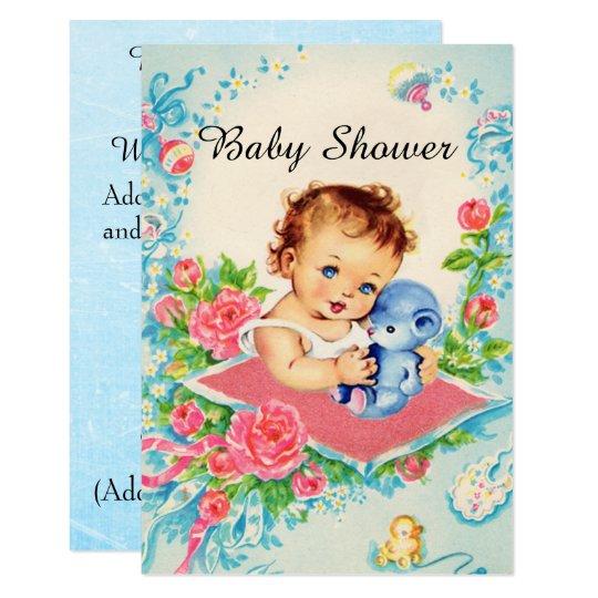 Vintage Baby Girl Baby Shower Invitations