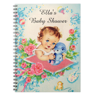 Vintage Baby Girl Baby Shower Notebook