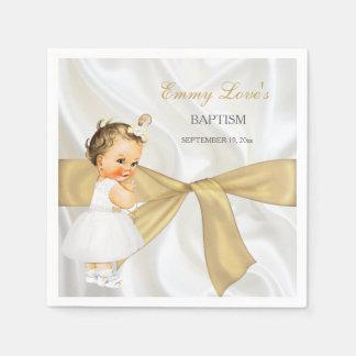 Vintage Baby Girl Baptism Christening Gold Bow Paper Napkin