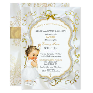 Vintage Baby Girl Baptism Gold Cross Glitter Card