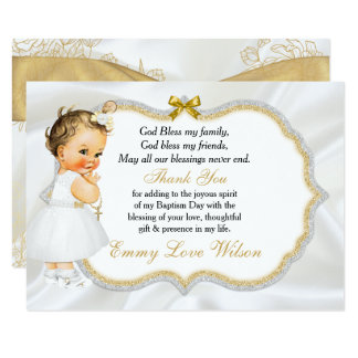 Vintage Baby Girl Baptism Gold Cross Thank You Card