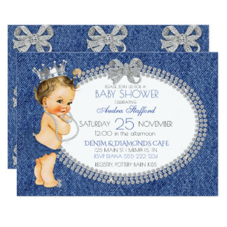 Vintage Baby Girl Denim & Diamonds Bows Card