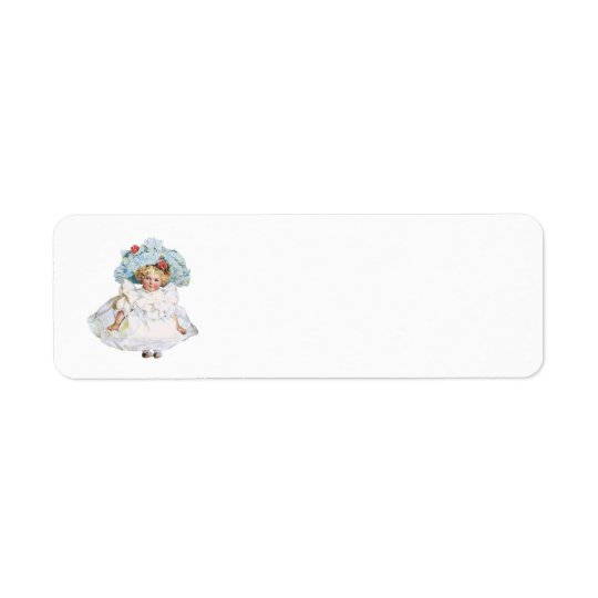 Vintage Baby Girl Doll, Easter Dress and Hat Return Address Label