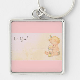 Vintage Baby Girl Silver-Colored Square Keychain
