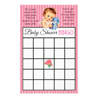 Vintage Baby Girl Teddy Bear Baby shower games Flyer