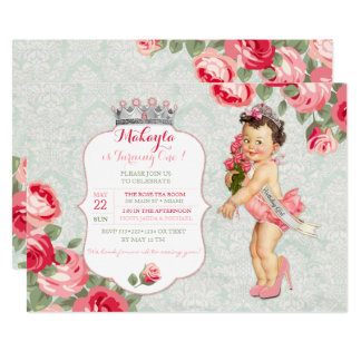 """Vintage Baby Little Miss America Pageant Princess 5"""" X 7"""" Invitation Card"""