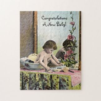 Vintage Baby On A Dressing Table Jigsaw Puzzle