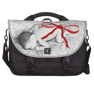 Vintage Baby on Blanket with Bow Laptop Diaper Bag Laptop Commuter Bag
