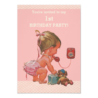 "Vintage Baby on Phone Pink Chevrons 1st Birthday 5"" X 7"" Invitation Card"