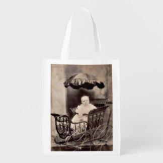 Vintage Baby Photograph Reusable Grocery Bag