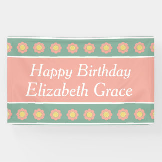 Vintage Baby Pink and Yellow Flower Happy Birthday Banner