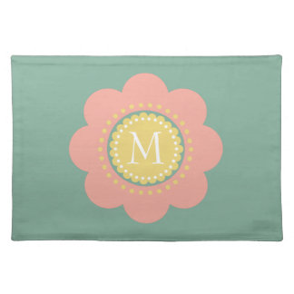 Vintage Baby Pink and Yellow Flower Monogram Placemat