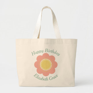 Vintage Baby Pink and Yellow Flower Personalized Large Tote Bag