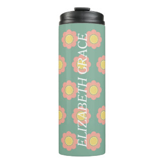 Vintage Baby Pink and Yellow Flower Personalized Thermal Tumbler