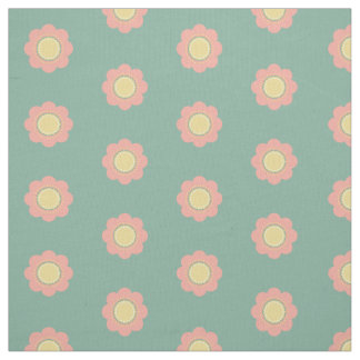 Vintage Baby Pink and Yellow Flowers on Blue Fabric