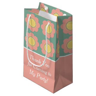 Vintage Baby Pink Flower on Blue Personalized Small Gift Bag