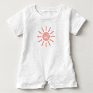 Vintage Baby Pink Sunburst on White Monogram Baby Romper