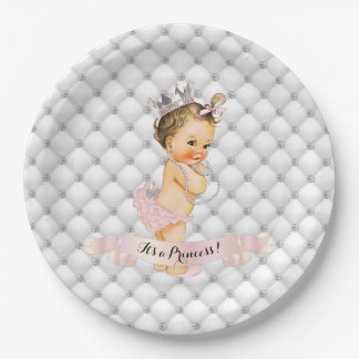 Vintage Baby Princess Diamonds Blush Pink Vintage Paper Plate
