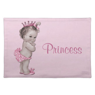 Vintage Baby Princess Pink Personalized Placemat