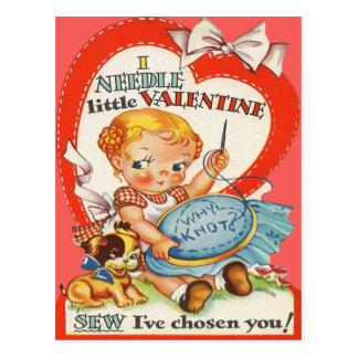 Vintage Baby & Puppy Doing Needlepoint Valentine Postcard