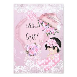 "Vintage Baby Shower Girl Pink Parasol Roses 5"" X 7"" Invitation Card"