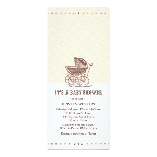 Vintage baby shower invitation
