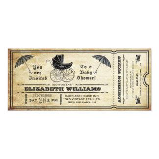 "Vintage Baby Shower Ticket Invitation 4"" X 9.25"" Invitation Card"