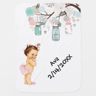 Vintage Baby with flowers and mason jars baby blan Baby Blanket