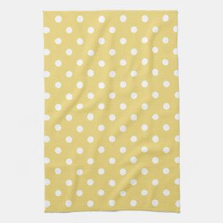 Vintage Baby Yellow and White Polka Dot Kitchen Towel