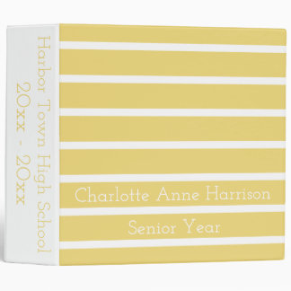 Vintage Baby Yellow and White Stripes Personalized Binder