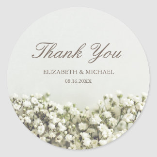 Vintage Baby's Breath Wedding Thank You Classic Round Sticker
