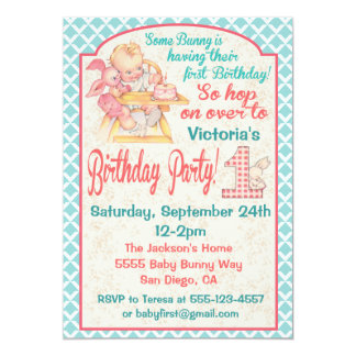 VIntage Baby's First Birthday Party Invitation
