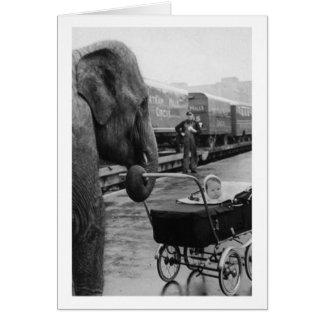 Vintage Babysitting Elephant, Card