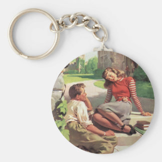 Vintage Back to School, College Coed Students Basic Round Button Keychain