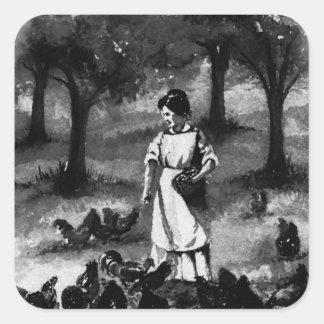 Vintage Backyard Chicken Farmer Square Sticker