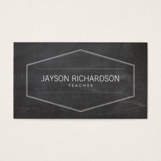 Vintage Badge on Chalkboard for Teachers Business Card