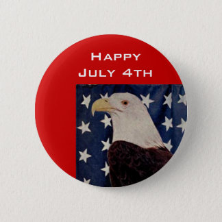 Vintage Bald Eagle on American Flag 4 July 2 Inch Round Button