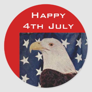 Vintage Bald Eagle on American Flag 4 July Classic Round Sticker