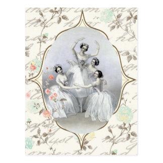 Vintage Ballerina and Typography Postcard
