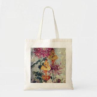 Vintage Ballerina Dancer Floral Painting Budget Tote Bag