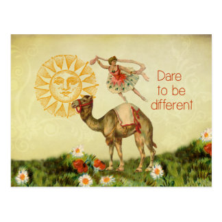 Vintage Ballerina Flowers and Camel Collage Post Card