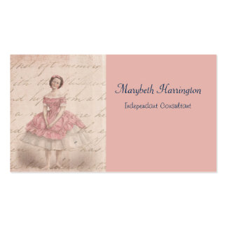 Vintage Ballerina Girl in a Pink Tutu Business Card Template