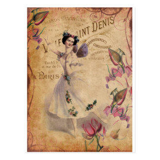 Vintage Ballerina on Ephemera background. Postcard
