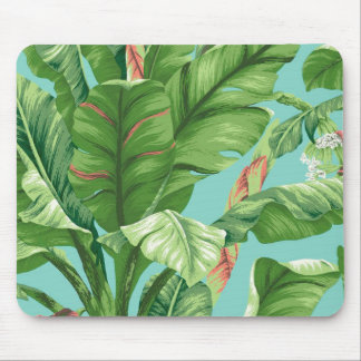 Vintage Banana leaf & flower painting Mouse Pad