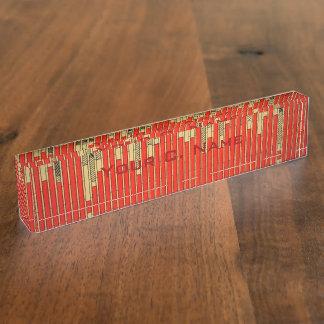 Vintage Bar Graph Chart Desk Nameplate