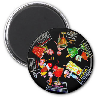 Vintage Bar Martini Cocktail Party Recipes Mad Men 2 Inch Round Magnet