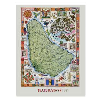 Vintage Barbado Travel Map Postcard