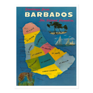 Vintage Barbados Map Postcard