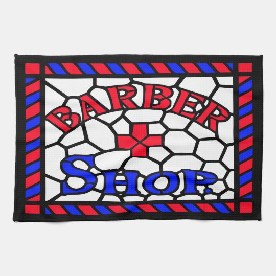 Vintage Barbershop Sign Kitchen Towel