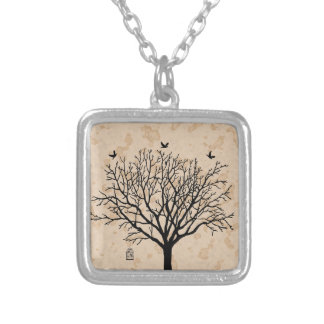 Vintage Bare Black Tree Silver Plated Necklace